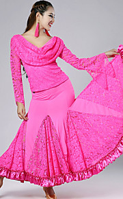 High-quality Lace with Pleated Ballroom Dance Outfits for Women's Performance(More Colors)