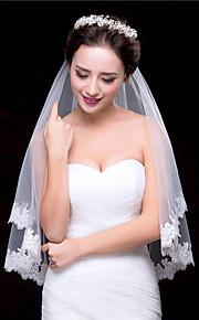 한층 - 레이스처리된 가장자리 - 클래식 - 손가락 베일 ( 화이트 / 아이보리 , 새해장식 )