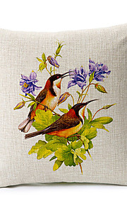 Country Two Birds Pattern Cotton/Linen Decorative Pillow Cover