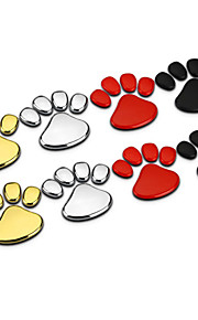 1par panda bærer dyr fodaftryk zink legering krom metal bil styling emblem badge genmontering 3d sticker decal
