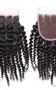 """smilco 4 """"* 4"""" закрытие 6а кружева кудрявый локон три части 100% человеческий волос бразильского Виргинские кружева закрытия закрытия"""