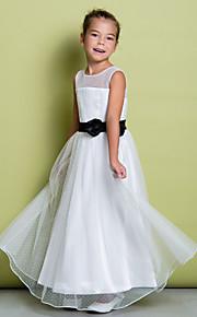 Lanting Bride A-vonalú Földig érő Virágoslány ruha - Tüll Ujjatlan Ékszer val vel