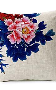 Blue Fower Pattern Cotton/Linen Decorative Pillow Cover
