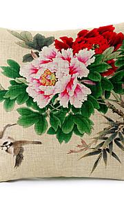 Summer Fower Pattern Cotton/Linen Decorative Pillow Cover