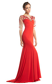 TS Couture® Formal Evening Dress Trumpet / Mermaid Scoop Sweep / Brush Train Tulle / Jersey with Beading