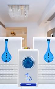 501k3 32-melodie draadloze afstandsbediening + 2 ontvangers deurbel set - wit + blauw