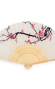 Silk Fans and parasols - 4 Piece/Set Hand Fans Garden Theme / Asian Theme / Floral Theme White
