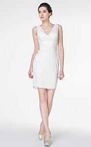 robe de mariée gaine / colonne - - de lanting mini court dentelle ivoire / v-cou