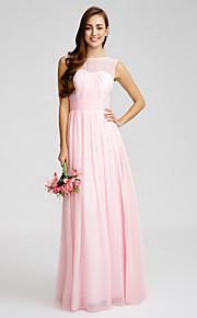 Floor-length Chiffon Bridesmaid Dress - Blushing Pink Sheath/Column Bateau