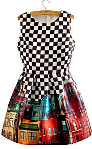 ההדפסה של נשים / לבדוק שמלה שחורה / לבן, קפלים שרוולים צוואר עגולים בציר