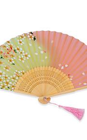 High quality Japanese silk folding hand fans - 1 Piece/Set Hand Fans Floral Theme Pink / Green