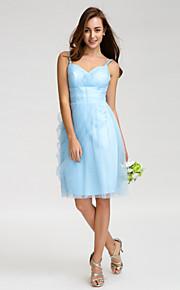 Lan TingKnee-length Tulle Bridesmaid Dress - Sky Blue Sheath/Column Spaghetti Straps