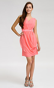 Lan TingKnee-length Chiffon Bridesmaid Dress - Watermelon Sheath/Column V-neck
