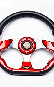 nye universelle 320mm 13 tommer bil auto momo modificeret pu materiale bil løb rat med horn knap