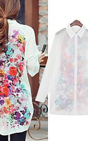 Damen Blumen Einfach / Street Schick Lässig/Alltäglich Hemd,Hemdkragen Frühling / Sommer / Herbst Langarm Weiß / Grün Polyester Dünn