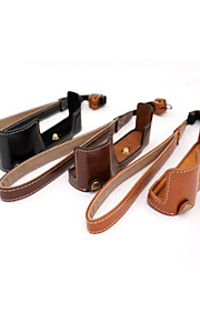 dengpin pu læder halv kamerataske taske cover base for Olympus E-M10 Mark II EM10 Mark2 (assorterede farver)