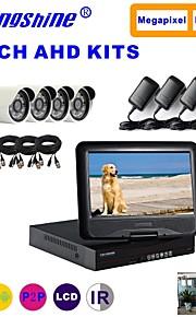 strongshine® ahd kamera med 960p / infrarød / vandtæt og 4-kanals ahd DVR med 10,1 tommer lcd combo kits