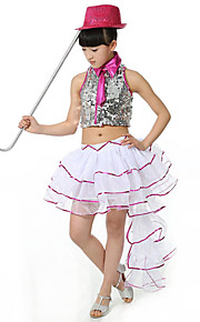 Jazz Outfits Children's Performance Sequined Sequins 2 Pieces Fuchsia / Gold Jazz Sleeveless Skirt / Top