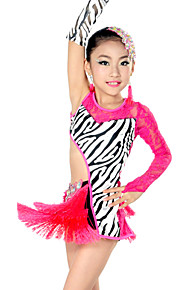 Latin Dance Outfits Children's Performance Spandex / Lace Tassel(s) 3 Pieces Fuchsia Latin Dance Sleeves / Dress / Headpieces
