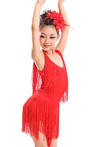 Latin Dance Dresses Children's Performance Spandex Milk Fiber Tassel(s) 2 Pieces Dress Headpieces S:60 M:62 L:64 XL:66 XXL:69 XXXL:74