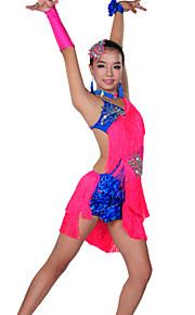 Latin Dance Outfits Children's Performance Spandex Tassel(s) 6 Pieces 8 Colors