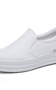 Черный / Белый-Женская обувь-На каждый день-Дерматин-На платформе-Криперы / С круглым носком / С закрытым носком-Лоферы