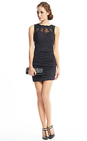 TS Couture® Cocktail Party Dress Sheath / Column Jewel Short / Mini Jersey with Appliques / Criss Cross