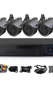 yanse® 4-kanals DVR kit CCTV-kameraer seystem ir farve vandtæt overvågningskameraer (8-kanals 960h hdmi DVR) 1100tvl 3.6mm