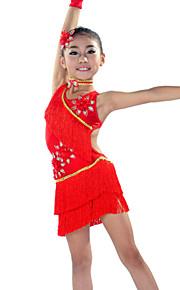 Latin Dance Outfits Children's Performance Spandex Tassel(s) 5 Pieces Sleeves Dress Neckwear HeadpiecesM :62 L :67 XL :72 XXL :84 XXXL