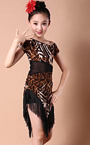 Latin Dance Dresses Children's Performance Spandex / Milk Fiber Tassel(s) 1 Piece DressS:57-76 M:60-81 L:63-86 XL:67-91 XXL:70-96