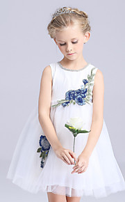 Blumenmädchenkleid-Satin / Tüll / Polyester-A-Linie-Kurz / Mini-Ohne Ärmel