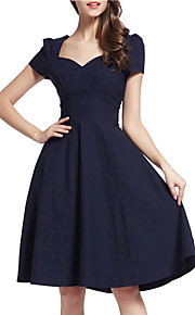 Women's Vintage / Simple / Street chic Solid Swing Dress,Square Neck Knee-length Nylon / Spandex