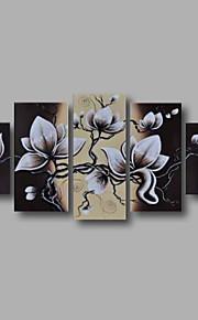 """estirada (listo para colgar) pintado a mano la pintura al óleo 60 """"x32"""" flores modernas pared de lona de arte negro blanco"""