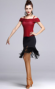 Latin Dance Outfits Women's Performance Tulle Tassel(s) 2 Pieces Black / Red