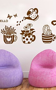 Fresh Rustic Small Flower Bonsai Wall Stickers Plant Sofa Decoration Window Stickers Gass Applique