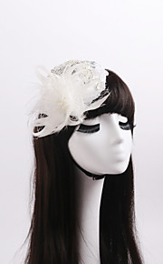 Women's / Flower Girl's Lace / Feather / Rhinestone / Crystal Headpiece-Wedding / Special Occasion Fascinators 1 Piece