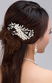 Bride's Pearl Rhinestone Hair Comb Wedding Hair Jewelry Accessories 1 PC