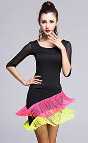 Latin Dance Outfits Women's Performance Tulle / Viscose Tassel(s) 2 Pieces Black