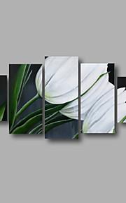 "estirada (listo para colgar) pintura al óleo 60 ""x32"" flores modernas pared de lona de arte verde oscuro pintado a mano"