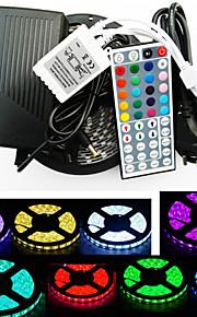 zdm 5m étanche 300x5050 rgb smd conduit bande lumière et télécommande 44key et 6a eu alimentation (AC110-240V)
