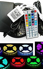 ZDM ™ vanntett 5m 300x5050 smd RGB LED stripe lys og 44key fjernkontroll og 6a eu strømforsyning (ac110-240v)