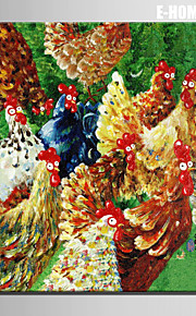 ミニサイズの電子ホーム油絵現代の鶏は、純粋な手は、フレームレス装飾画を描きます