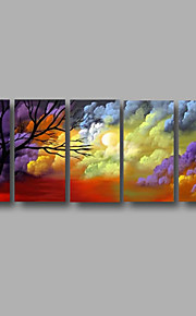 "Stretched (ready to hang) Hand-Painted Oil Painting 60""x24"" Canvas Wall Art Modern Abstract Trees Purple"