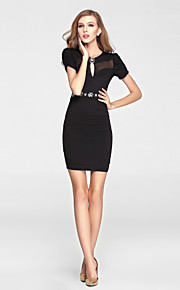 Cocktail Party Dress Sheath / Column V-neck Short / Mini Tulle / Polyester with Beading / Crystal Detailing