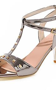 Розовый / Красный / Серебристый / Серый / Золотистый-Женская обувь-Для праздника-Дерматин-На шпильке-С открытым носком-Сандалии