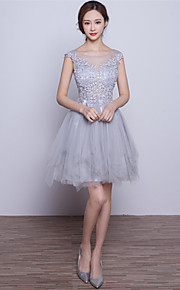 Short/Mini Tulle Bridesmaid Dress-Silver A-line Scoop