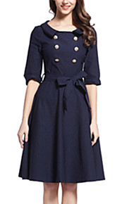 Women's Vintage / Simple / Street chic Solid Swing Dress,Round Neck Knee-length Cotton / Spandex