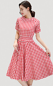Women's Simple Plaid A Line Dress,Round Neck Midi Linen