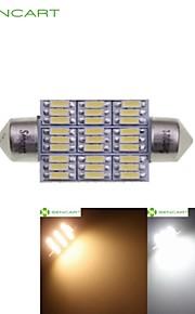 39 millimetri 41 millimetri cupola 27LED 4014smd 4w bianco caldo / freddo auto bianca interno luce di lettura della luce DC12V (2 pezzi)