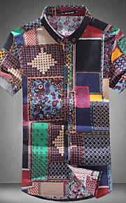 Camicia Uomo Casual Collage Manica corta Cotone